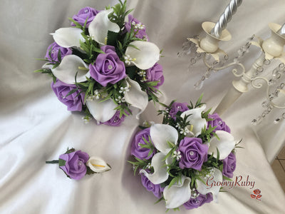 Lilac Rose & White Large Calla Lily
