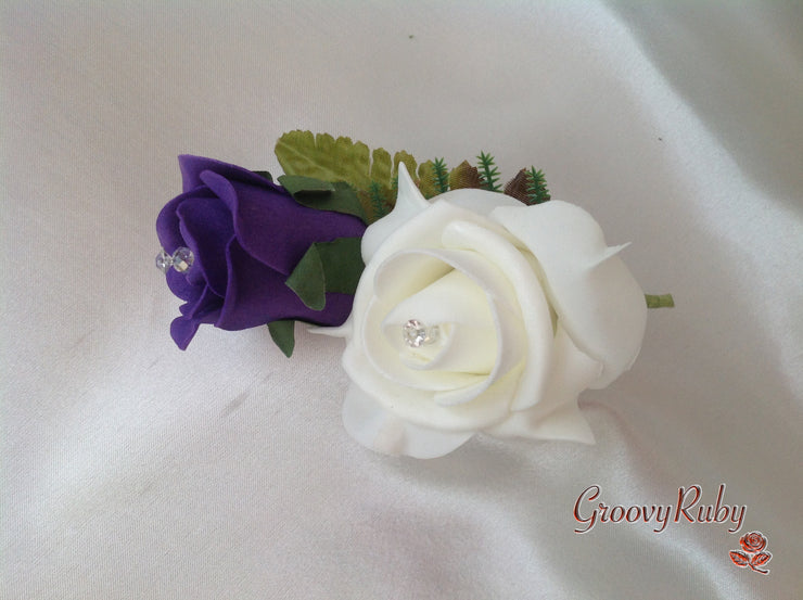 Cadbury Purple & Ivory Rose Pearl Loops Brooch Crystal