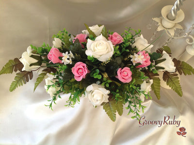 Baby Pink & Ivory Rose Table Centrepiece