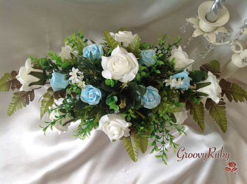 Baby Blue & Ivory Rose Table Centrepiece