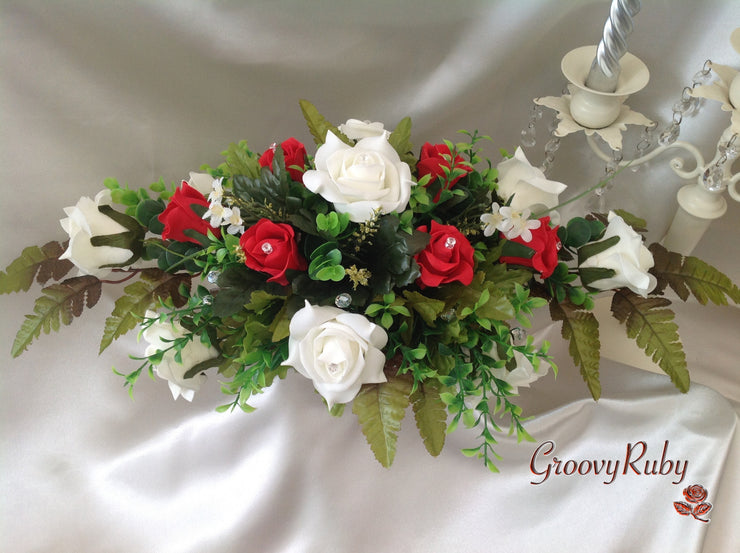 Red & Ivory Rose Table Centrepiece