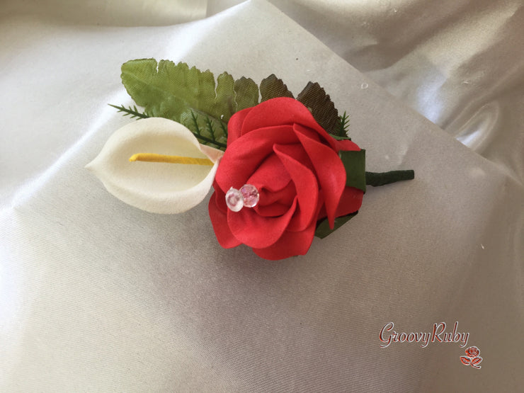 Light Red Rose & Large Ivory Calla Lily