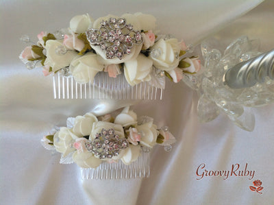 Pink & Ivory Rose Crystal Wedding, Brooch, Bridal, Bridesmaid Hair Comb