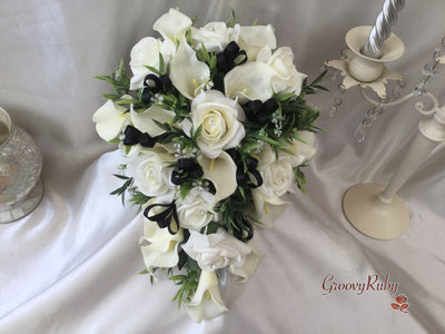 Ivory Rose & Large Calla Lily, Added Black Ribbon Loops