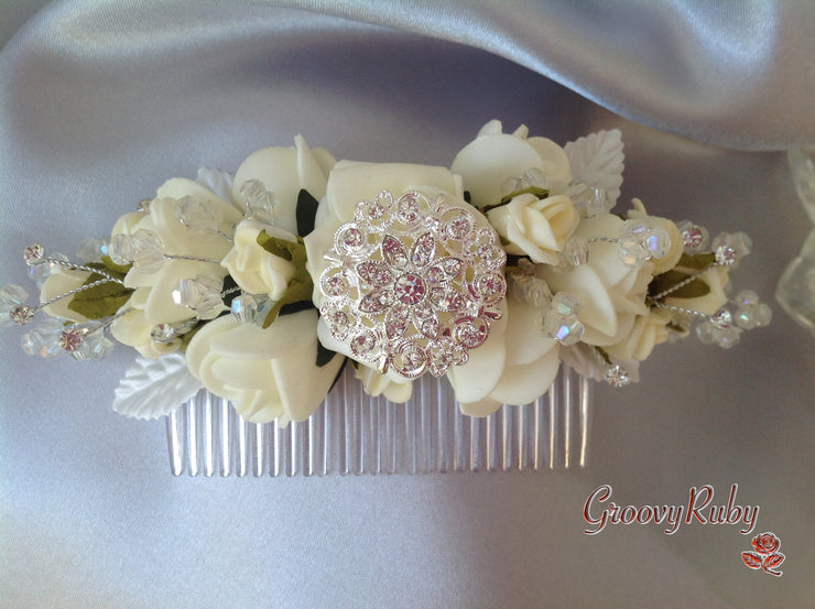 Ivory Rose Diamante Brooch Crystal Spray Bridal Hair Comb