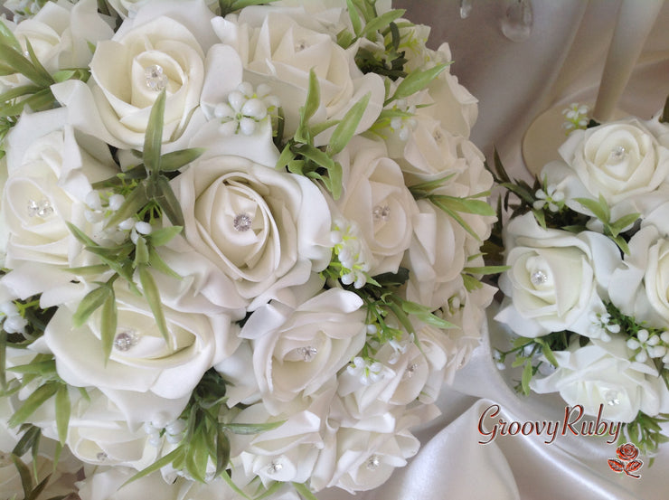 Ivory Rose Foliage & Crystal Bead
