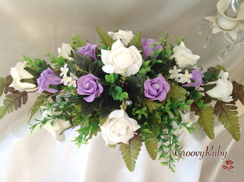 Lilac & Ivory Rose Table Centrepiece