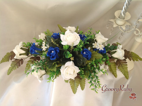 Royal Blue & Ivory Rose Table Centrepiece