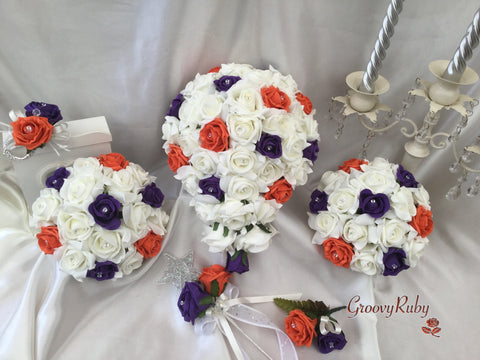Cadbury Purple, Orange & Ivory Rose Crystal