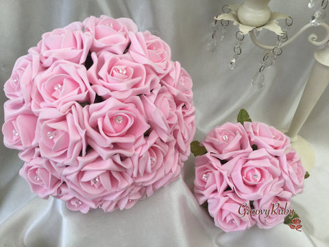 Full Baby Pink Rose Crystal