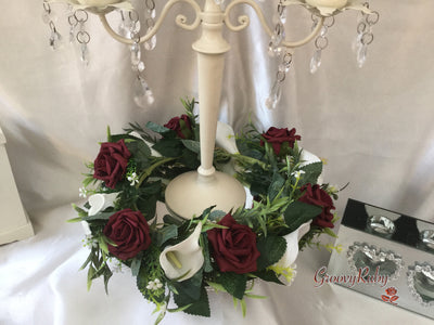 Burgundy Rose & White Calla Lily Wired Candelabra Table Rings