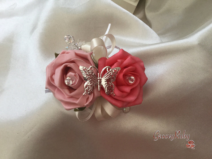 Coral/Dusky Pink & Ivory Butterfly Crystal