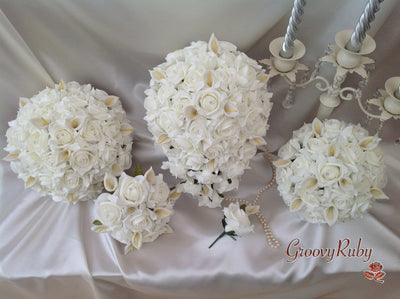 Ivory Rose & Small Calla Lily Full Bouquet Range