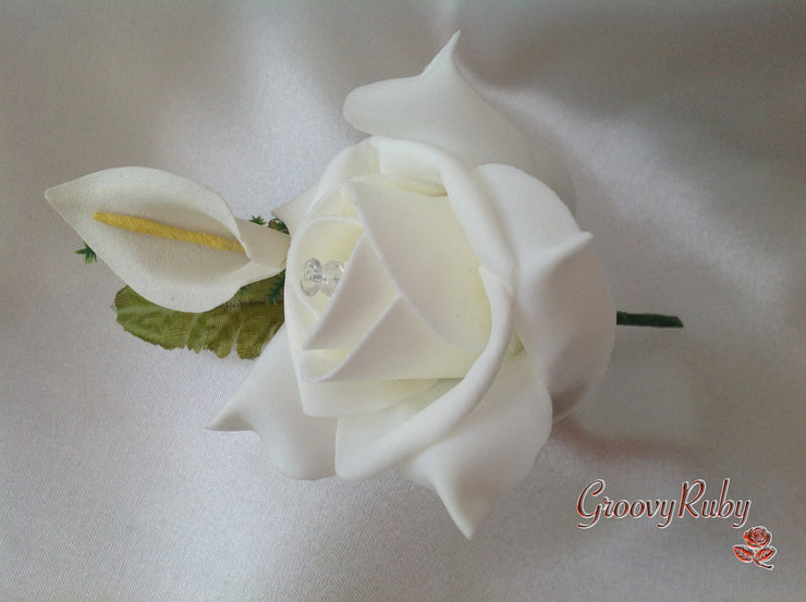 Ivory Rose & Small Calla Lily Crystal