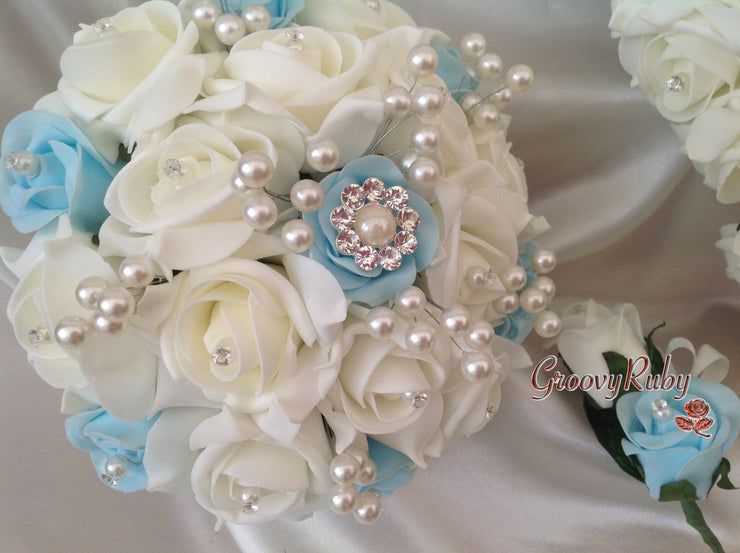 Baby Blue & Ivory Rose Pearl Crystal Brooch