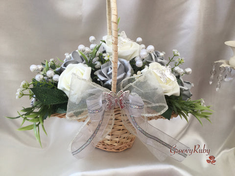 Butterfly Flower Girl Basket With Ivory/Silver Roses, Pearl Sprays & Foliage