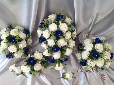 Ivory & Navy Blue Roses With Foliage & Lace