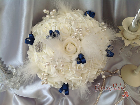 Ivory Rose Vintage With Navy Ribbon Loops