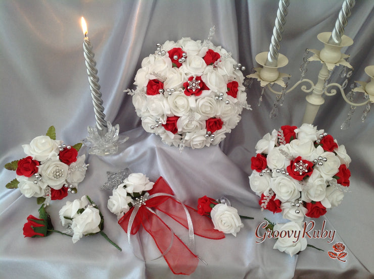 White & Red Rose With Crystal Snowflake Brooch