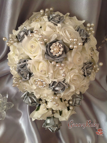 Silver & Ivory Rose Pearl Crystal Brooch