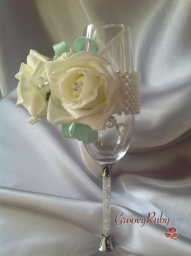 Pearl Wrist Corsage, Rose With Mint Green Ribbons