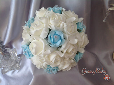 Baby Blue & Ivory Rose Crystal