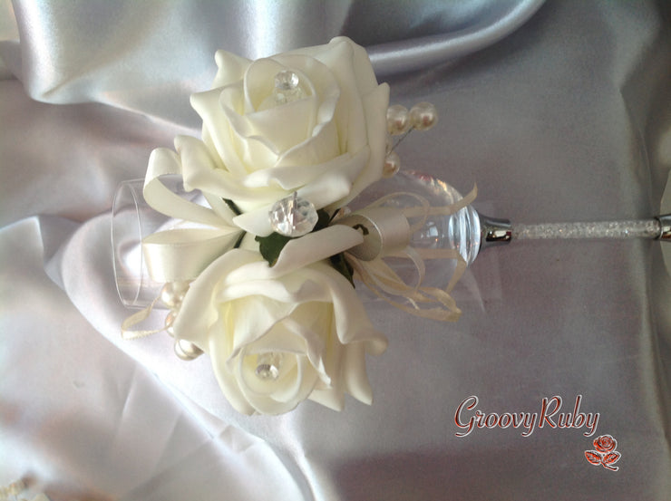Wrist Corsage, Ivory Rose With Pearl Sprays
