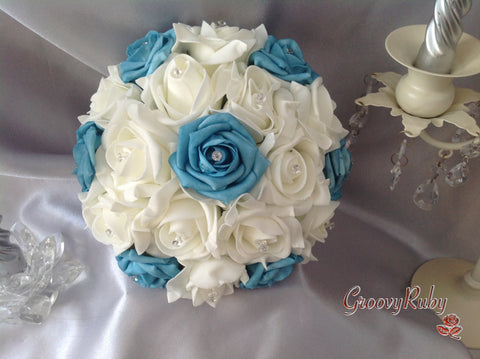 Turquoise Ivory Rose Crystal Bridesmaid Bouquet