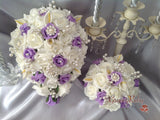Lilac & Ivory Rose & Small Calla Lily With Pearl Brooch