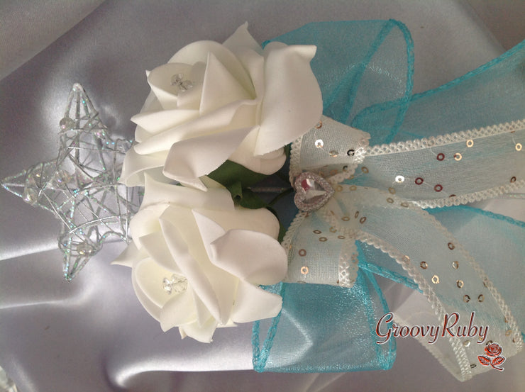 Silver Star Flower Girl Wand With Crystal Heart & Turquoise Organza