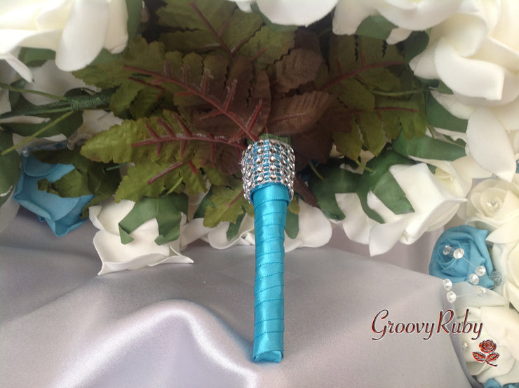 Turquoise & Ivory Roses, Heart Brooch, Crystal Sprays