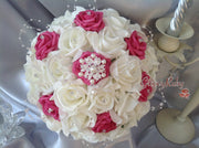 Ivory & Pink Roses, Ornate Brooch, Pearl Loops