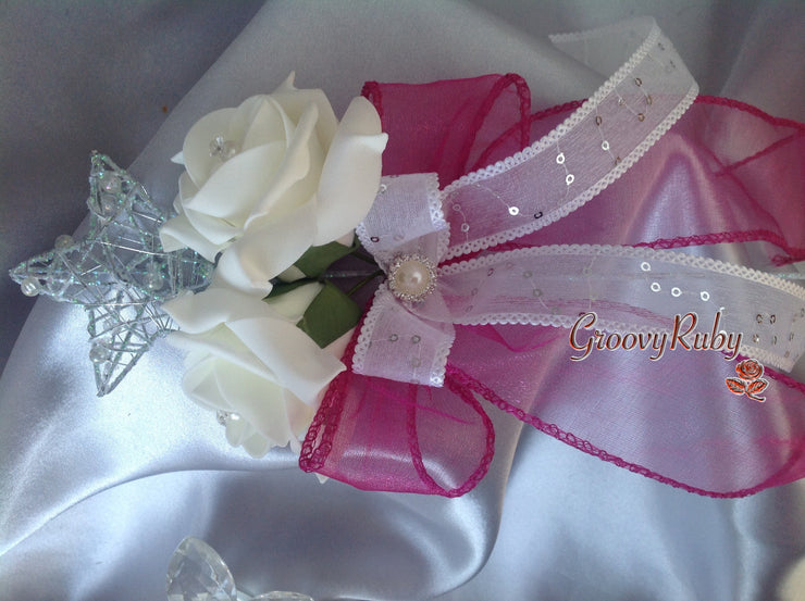 Silver Star Flower Girl Wand With Crystal Brooch & Pink Organza