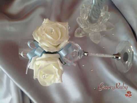 Diamante Wrist Corsage, Ivory Glitter Rose, Baby Blue Ribbon