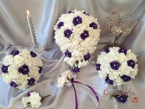 Cadbury Purple & Ivory Rose Crystal