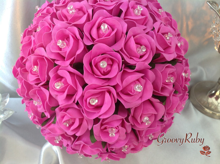 Full Hot Pink Rose Crystal