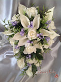 Ivory Rose & Large Calla Lily, Added Light Lilac Ribbon Loops