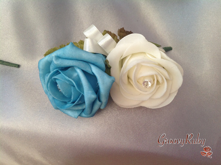 Turquoise & Ivory Rose Pearl Crystal Brooch