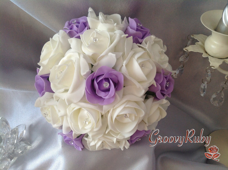 Lilac Ivory Bridesmaid Rose Crystal