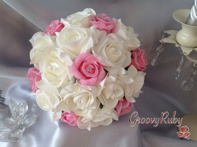 Baby Pink & Ivory Rose Crystal