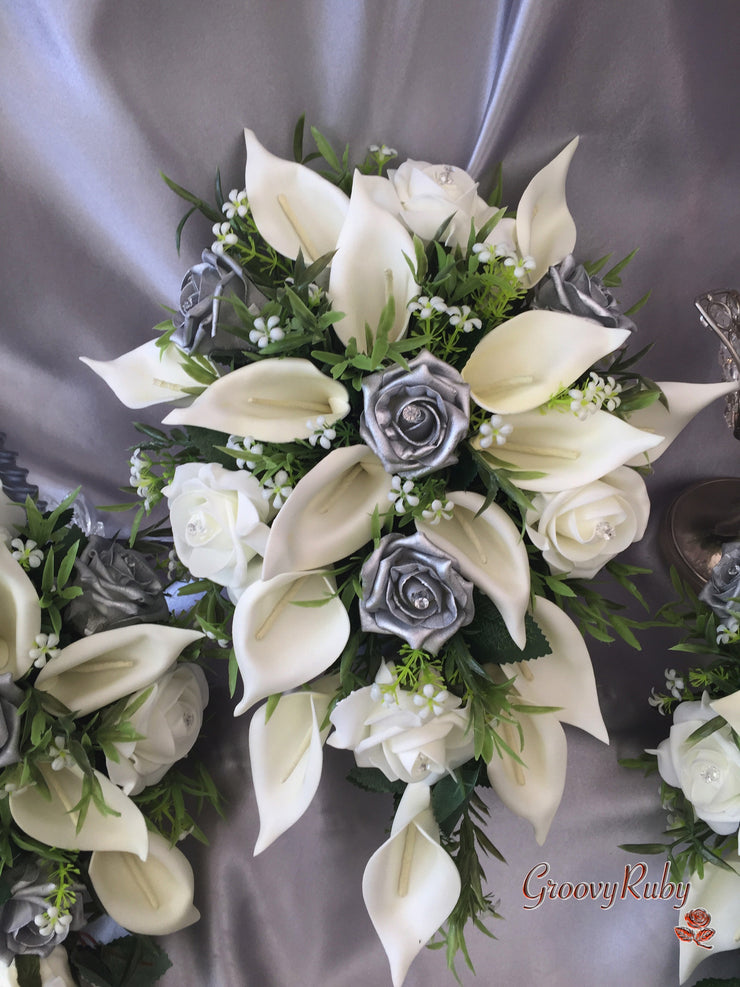 Silver & Ivory Rose & Large Calla Lily Bouquet