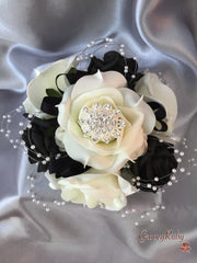 Black & Ivory Rose Pearl Loops Brooch Crystal