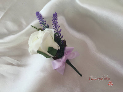 Ivory Rose & Purple Heather Buttonhole With Lilac Bow