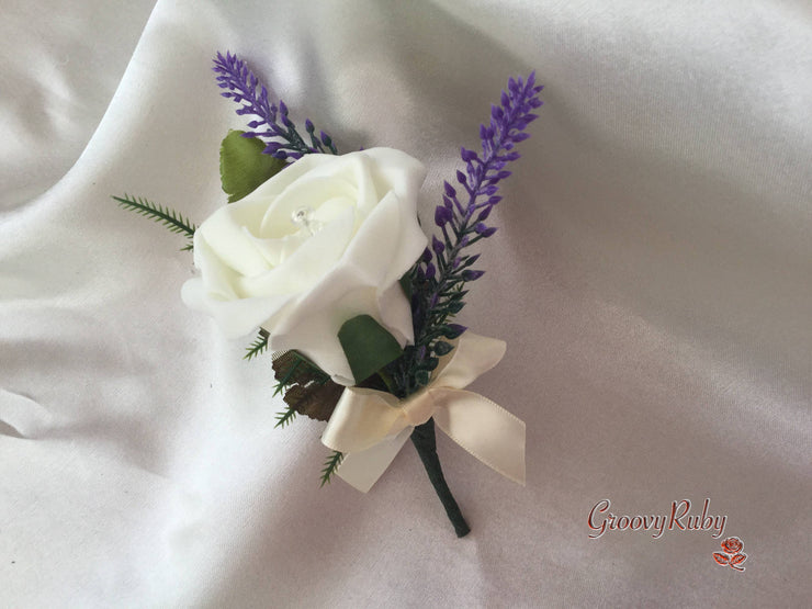 Ivory Rose & Purple Heather Buttonhole