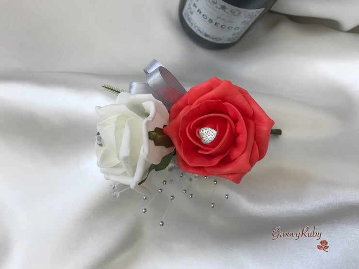 Coral & Silver Roses With Delicate Heart Brooch