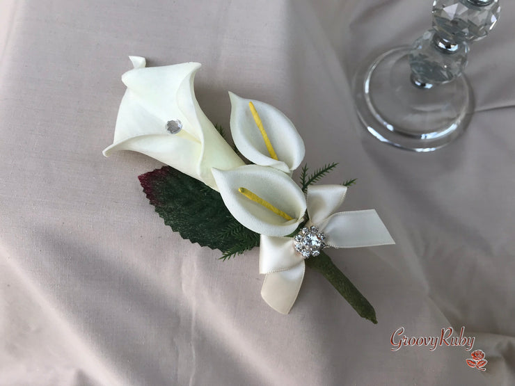 Large Calla Lily With Large Diamanté Brooch