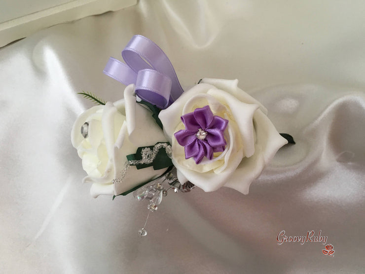 Rose Bouquets With Lilac Satin Diamante Flowers