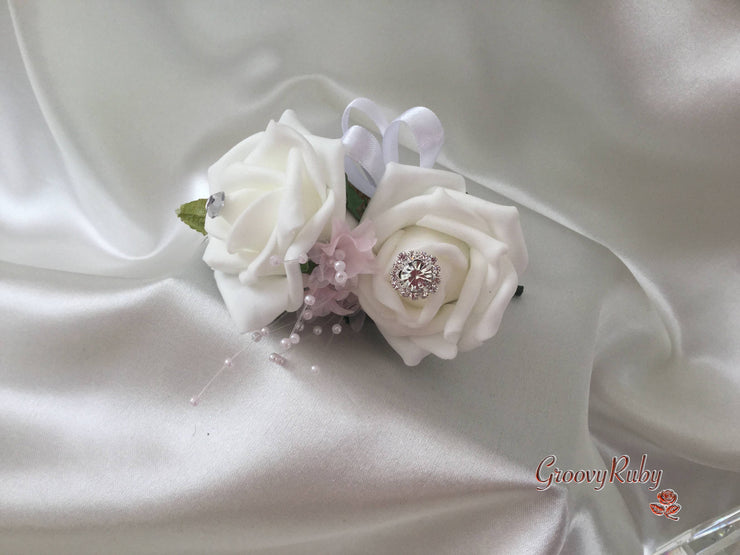 White Roses With Glitter Butterflies & Pink Babies Breath