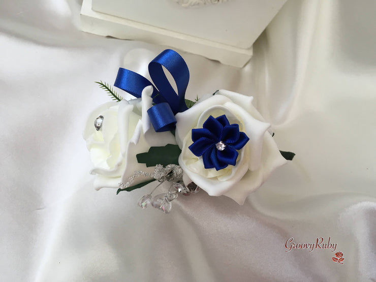 Rose Bouquets With Royal Blue Satin Diamante Flowers