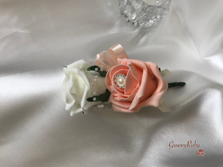 Peach Rose With Filigree Pearl Brooch & Hessian Lace Bow